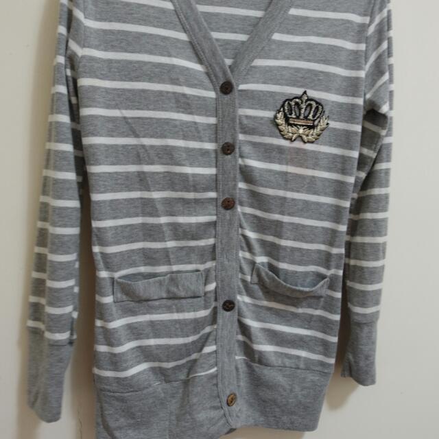 學院風 小外套 灰色 條紋 二手
