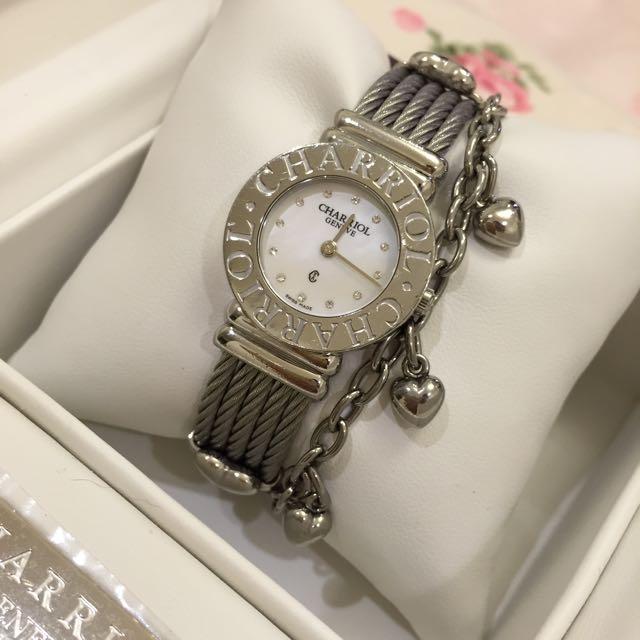 (已售待匯)九五成新 CHARRIOL 夏利豪 12顆鑽 鎖鍊錶-(白貝)