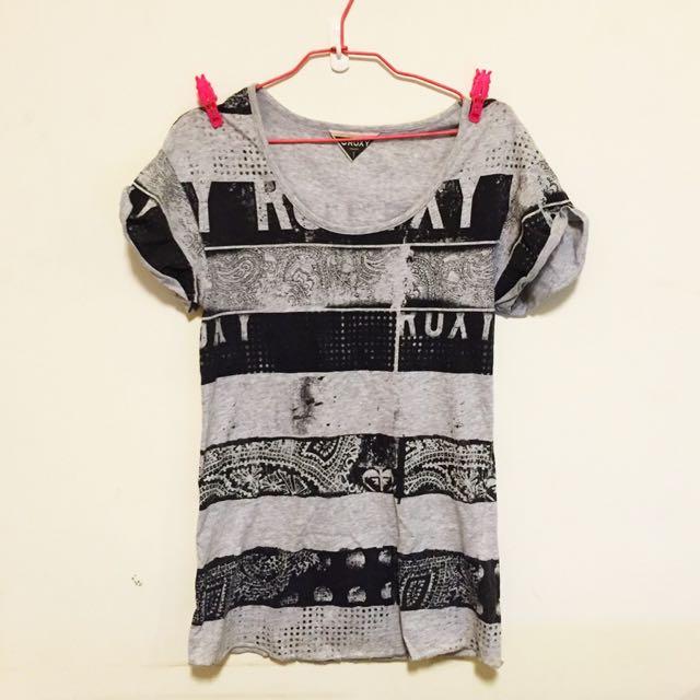 (已保留)👻二手百貨專櫃購入 ROXY 英文字母條紋長版短袖T恤 貓咪曬月亮 ZARA TOPSHOP NUDE MOONCAT MANGO H&M ASOS
