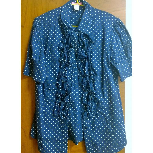 Blue pocadot short sleeve top