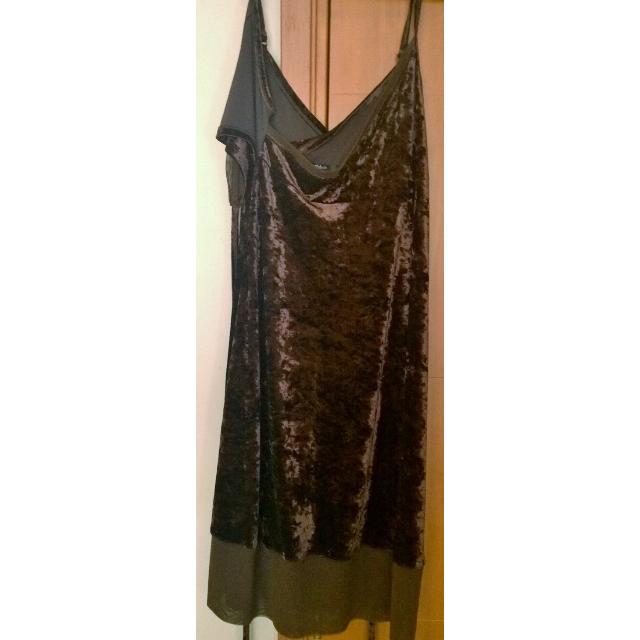 Dark brown velvet evening dress