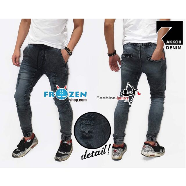 Jogger Ripped Jeans Wash Black Faded Kakkoii