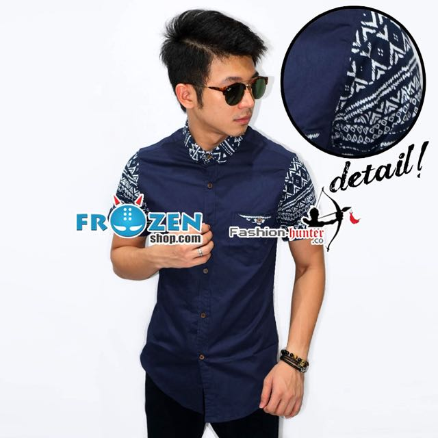 Kemeja Short Tribal Arrow Pattern Navy