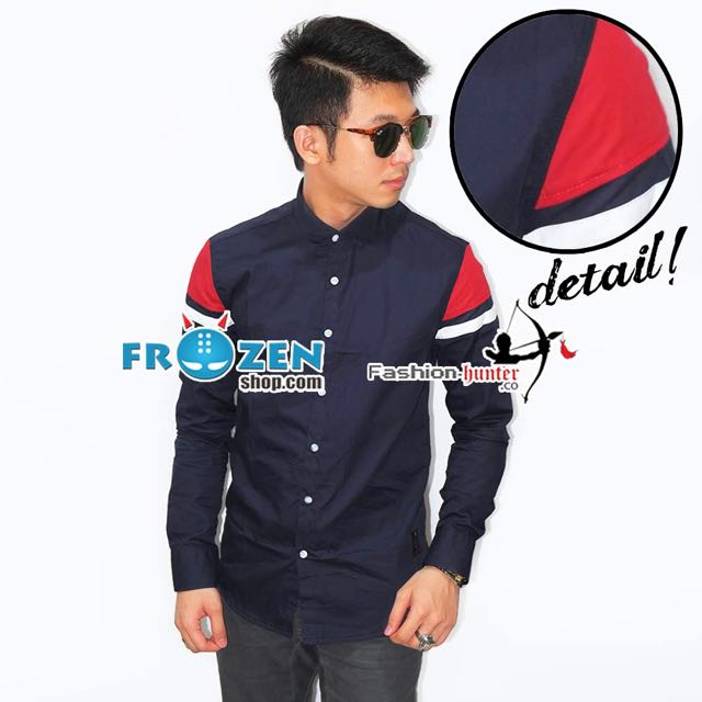 Kemeja Shoulder Red And White Badge Navy