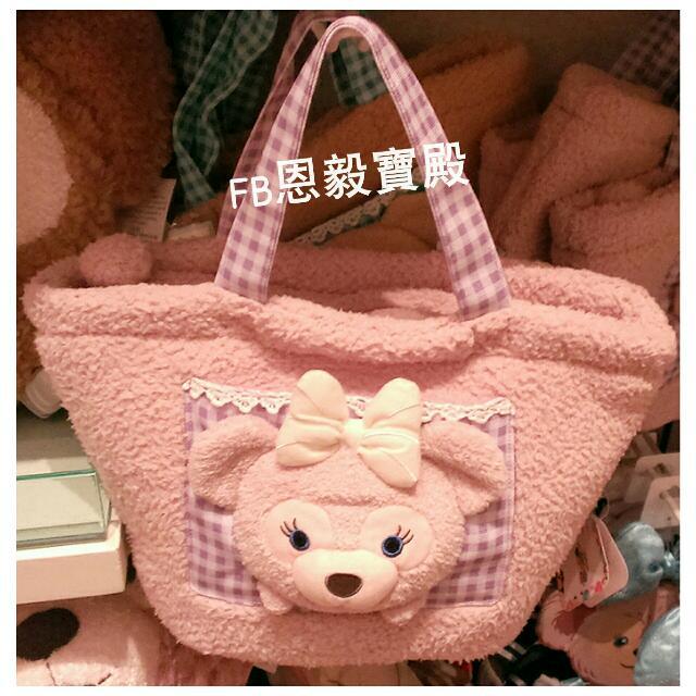 已售完♡香港迪士尼-新款雪麗梅shelliemay絨毛拉鍊手提袋