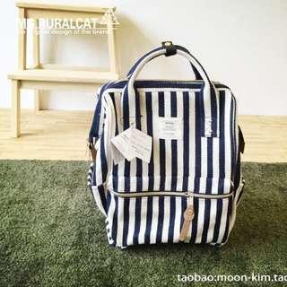 (現貨+預購)日本同步原廠原單超大容量ANELLO 媽媽包 後背包 *藍白條紋/黑白條紋