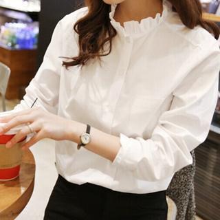 棉質小荷葉立領長袖襯衫