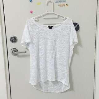 H&M 白色透膚寬鬆上衣