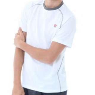 男運動圓領衫(白+綠雙件組)