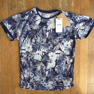 Zara Denim Couture Floral Tee