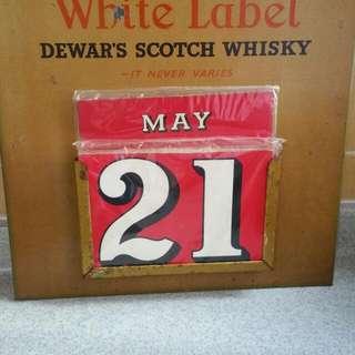 Vintage white Label Whisky calender