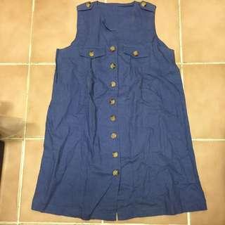 藍色背心洋裝