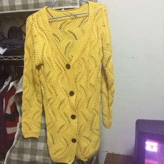 黃色針織外套/罩衫