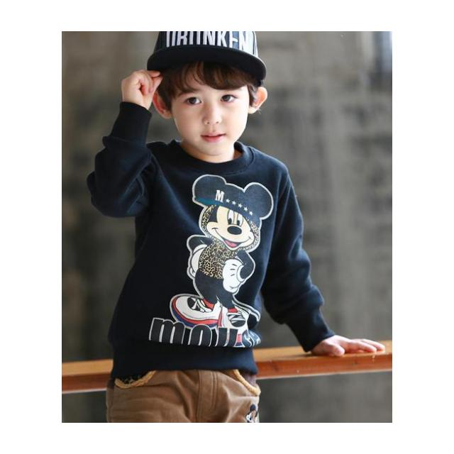 【現貨特價】2015冬季衛衣刷絨卡通帥氣深藍色男童長袖上衣