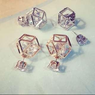 韓國 立體六角簍空珍珠雙面耳環 預購品