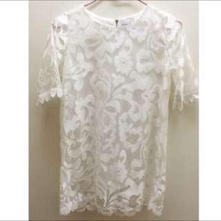 蕾絲五分袖洋裝/白色