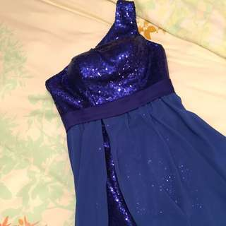 Royal Blue Sequin & Chiffon Evening Gown