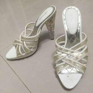 Esperanza日系品牌水鑽水晶跟透明鞋跟玻璃鞋