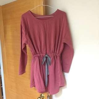 抽繩縮腰長袖長版上衣 洋裝