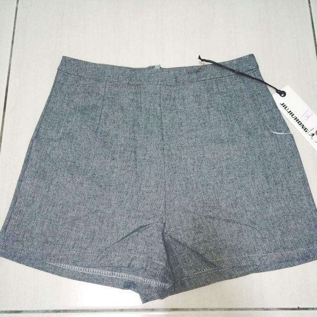 西裝簡約清新打褶剪裁短褲-灰