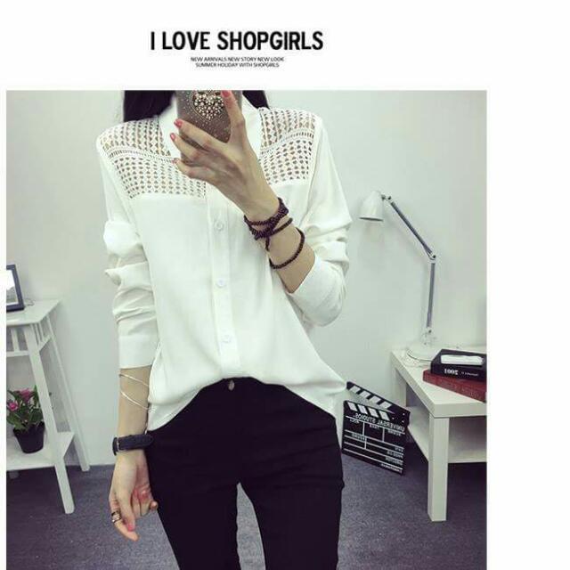 白色網格襯衫