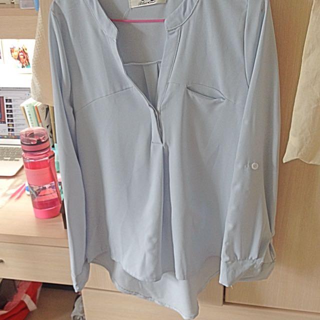 水藍雪紡襯衫