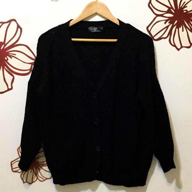 韓風黑色顯瘦針織外套