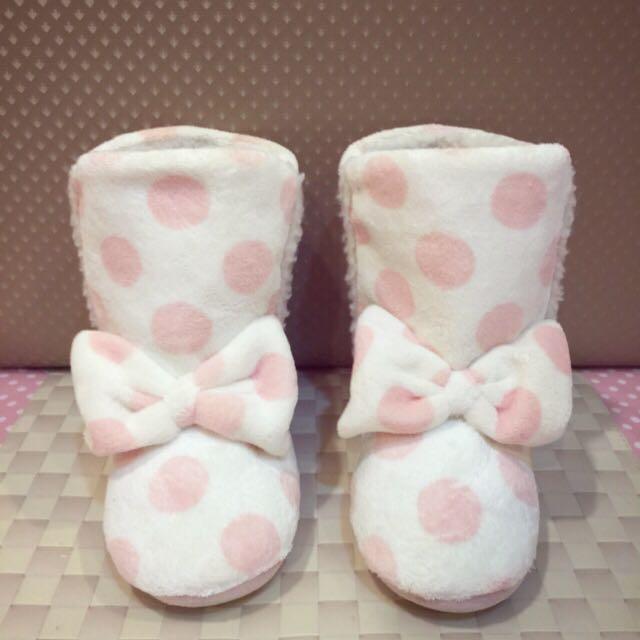 「降價」粉紅水玉點點毛茸室內鞋