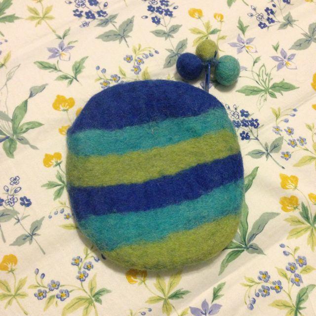 羊毛氈 零錢包 藍色可愛橫條