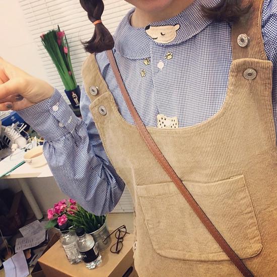 日系 童趣刺繡 娃娃領格子長袖襯衫