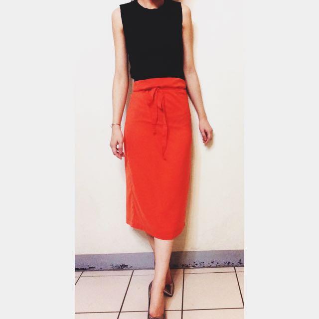 全新 綁帶 後開岔 拉鍊 雪紡 窄裙(橘色)