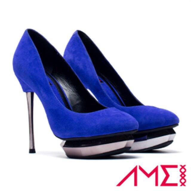 【AMEI】經典魅力寶石厚底高跟鞋(寶藍色)