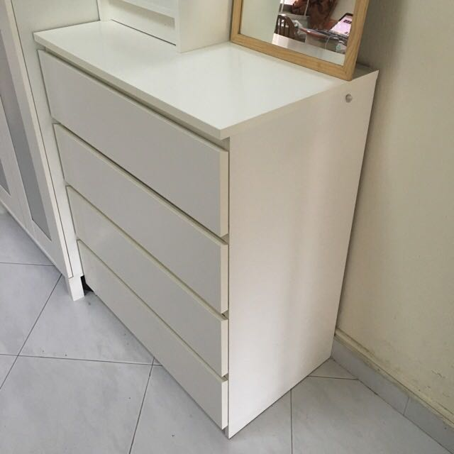Ikea Malm  Drawers White Chest Of Drawers