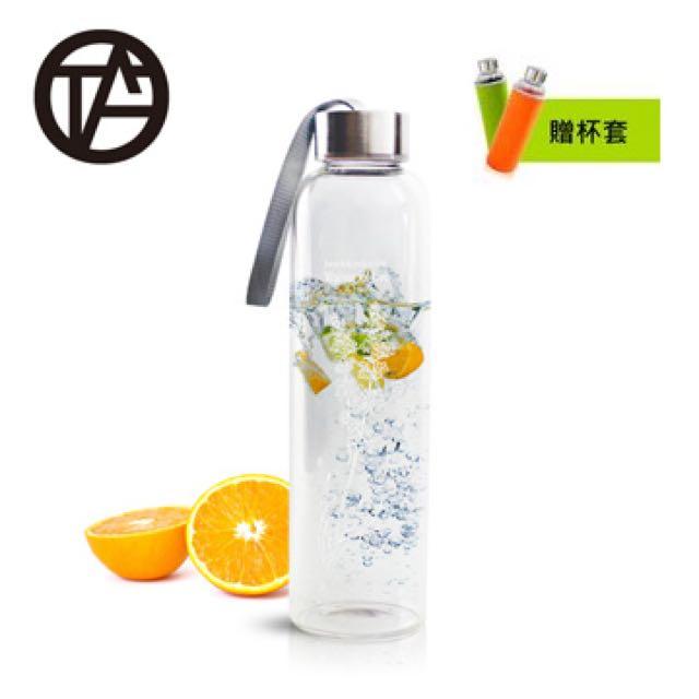 (全新未拆封)OTA-可提蓋耐熱水晶玻璃薰衣草玻璃隨手瓶550ML●贈送杯套(綠/橘色 隨機)