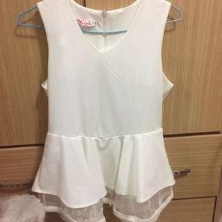 全新💕氣質下擺裙白上衣