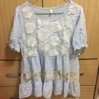Misscherry九成新水藍色小洋裝上衣