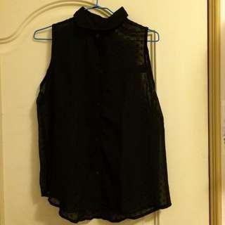 透膚黑色無袖刺繡襯衫