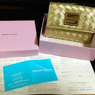 全新日本專櫃 samantha thavasa 金色藤編票夾