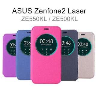 華碩ASUS ZenFone2 Laser ZE550KL/ZE500KL 大視窗皮套 支架側掀 磁扣吸附貼合