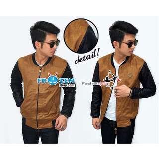 Varsity Leather Suede Brown Sleeve Black