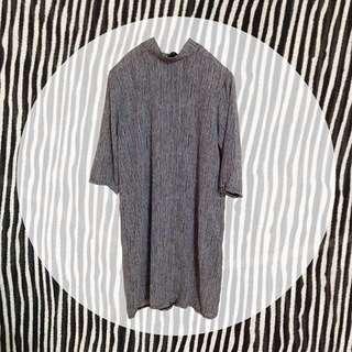️⁉️降價🌝長版洋裝/黑白條紋/微高領