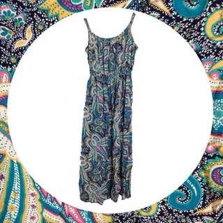 ️⁉️降價🌝變形蟲連身裙/縮腰/藍色/可調肩