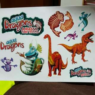 Aqua Dragons And Dinosaurs Stickers