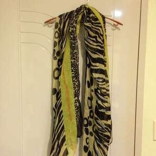 🚚 動物紋拼接圍巾