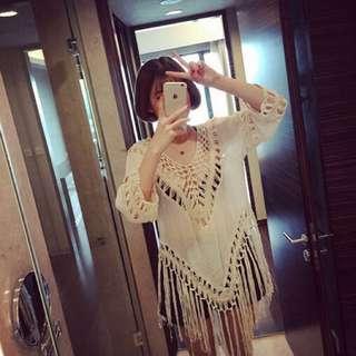 棉麻V領垂式顯瘦七分袖流蘇罩衫 米