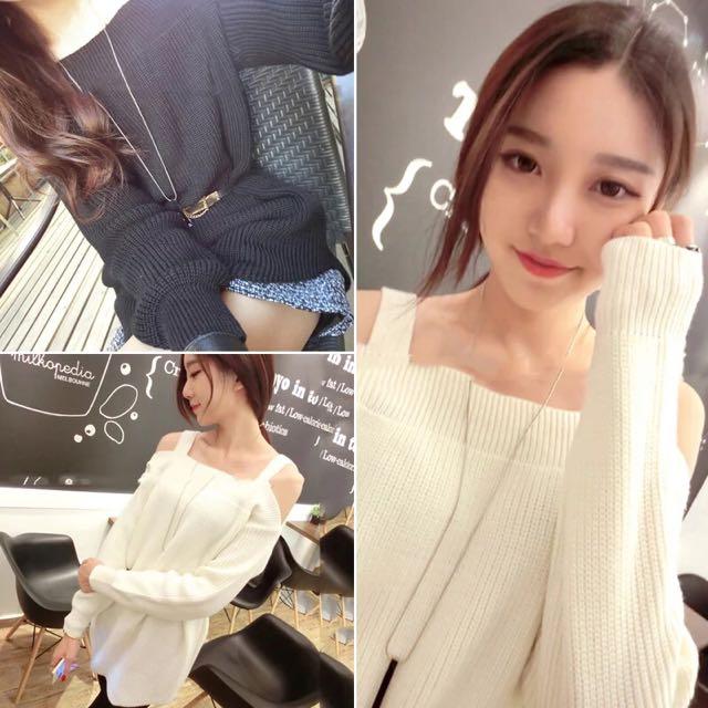 新款韓版顯瘦百搭露肩針織毛衣~白色現貨