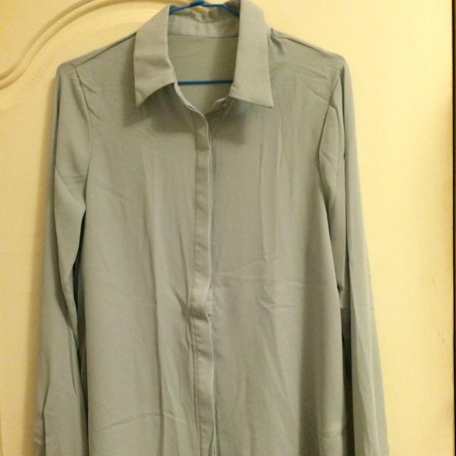 韓國雪紡湖綠襯衫