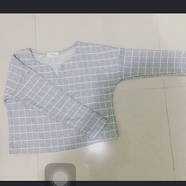 韓版淺灰色格紋上衣