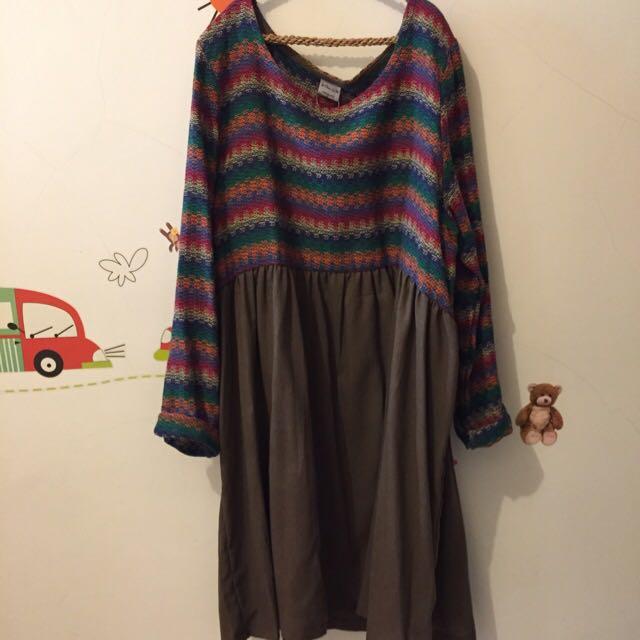 圓領 彩色編織布混素面裙