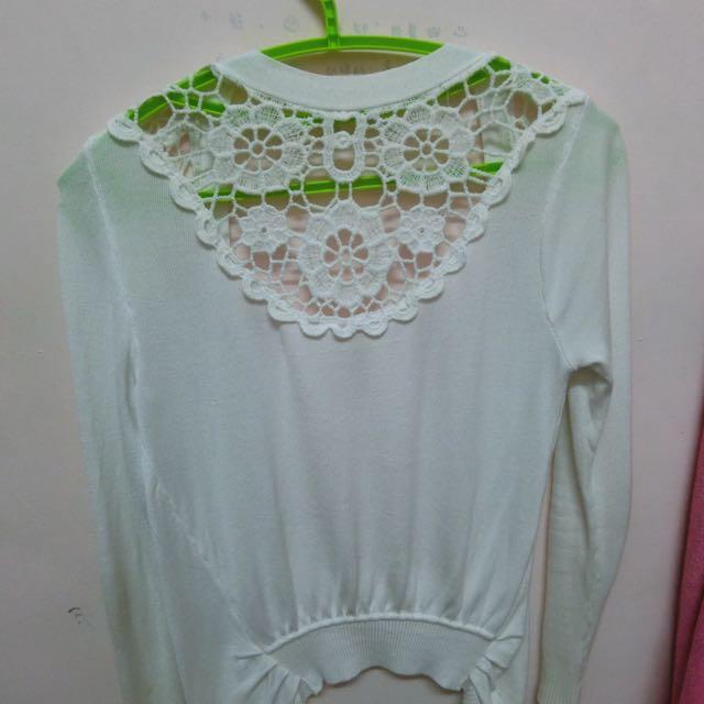 白色針織蕾絲外套